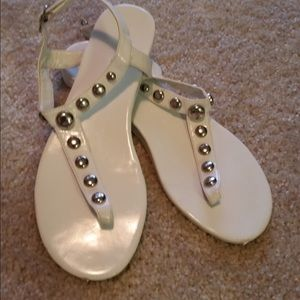 Express white sandals with  silver studded size 9